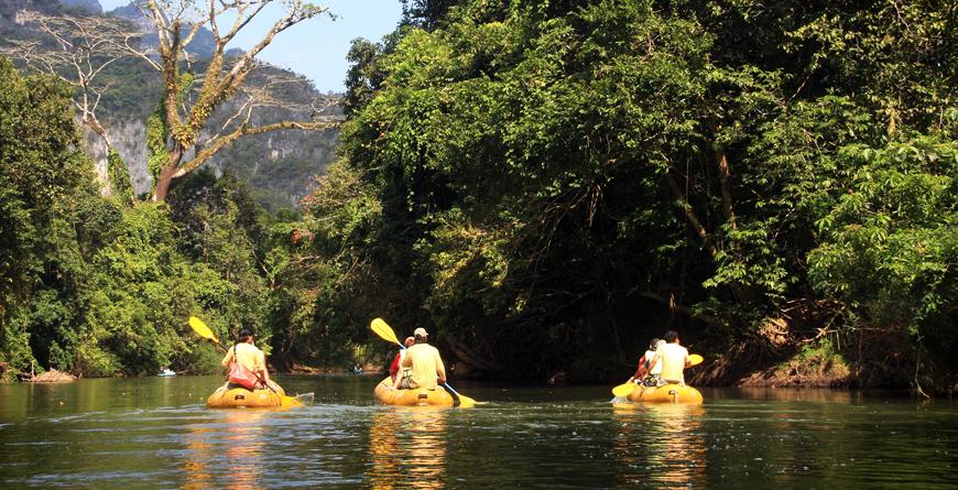 Kayaking down the River