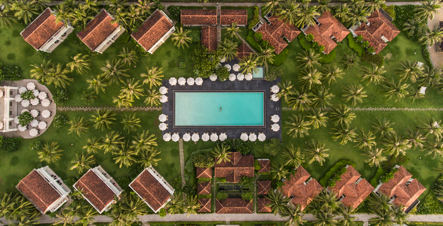 Aerial of the pool complex