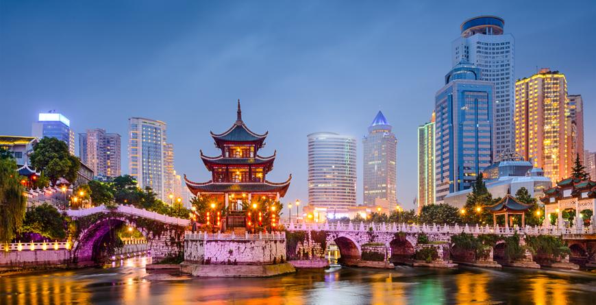 Guiyang Night Skyline, Jiaxiu Pavilion, Nanming River, courtesy Shutterstock