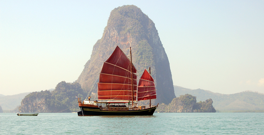 Boat in Bay of Phang Nga