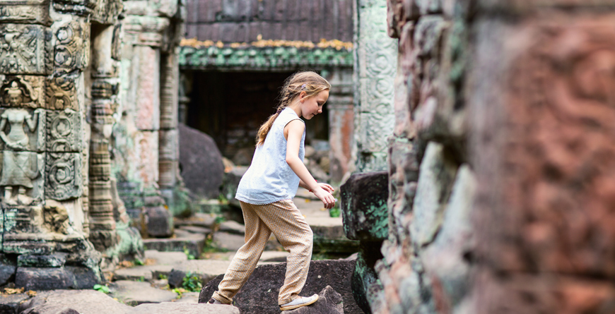 Girl exploring the temples