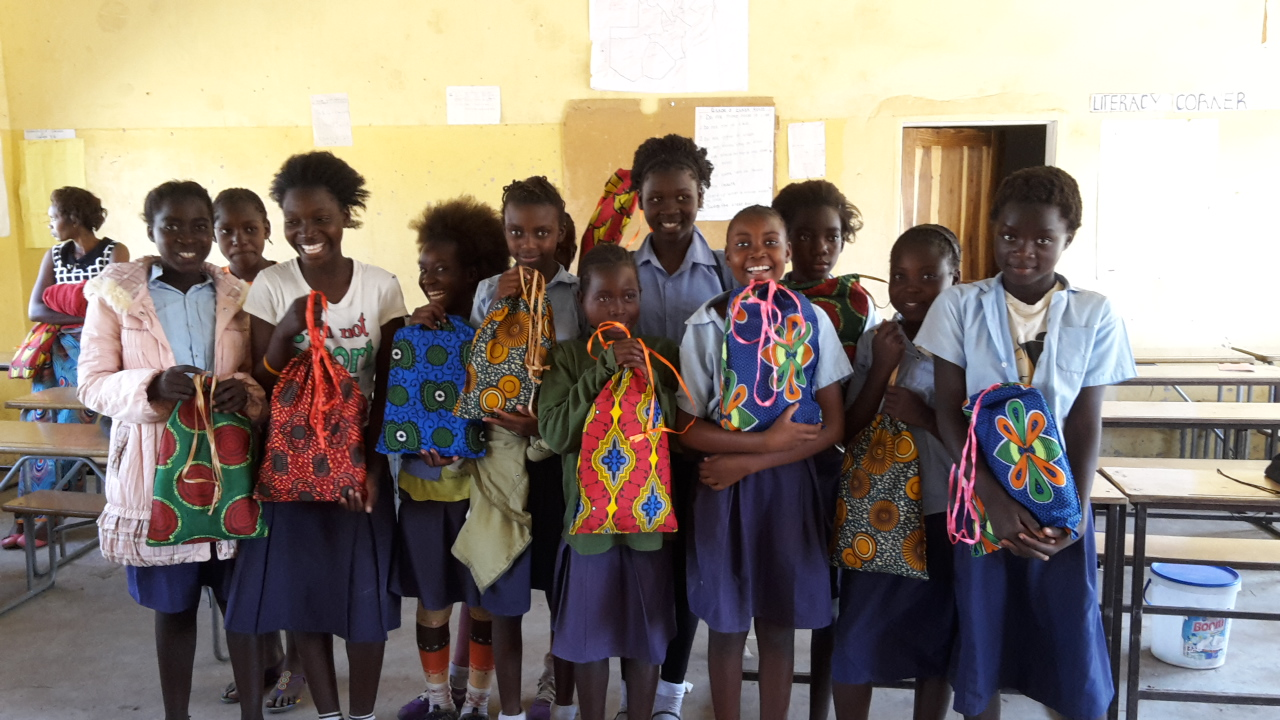 Protect Project girls receiving their bags