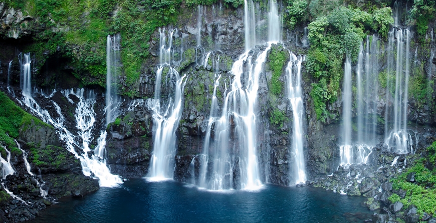 Waterfalls in Reunion, courtesy of Infografic, Shutterstock
