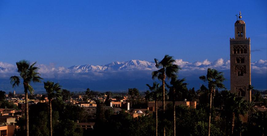 La Koutoubia et I'Atlas, Marrakech